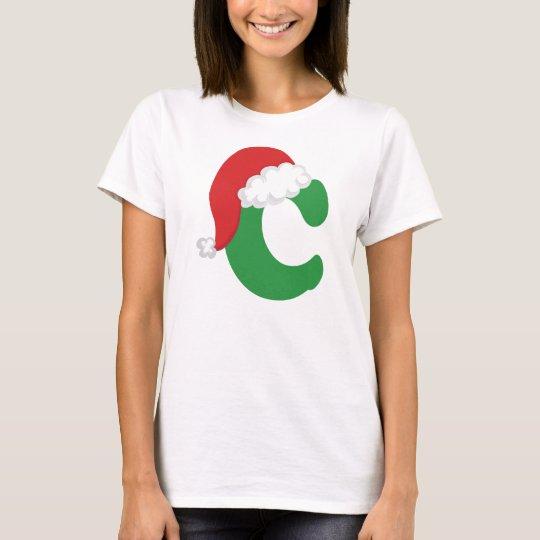 Christmas Letter C Alphabet T-Shirt