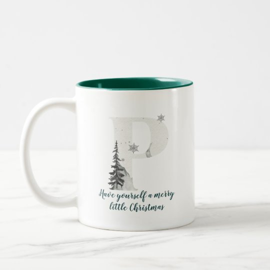 Christmas Letter P Alphabet Coffee Mug