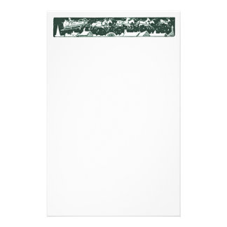Christmas Letter Santa Holiday Green Stationery