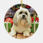 Christmas - Lhasa Apso - Solo Double-Sided Ceramic Round Christmas Ornament