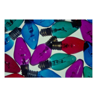 Christmas light bulbs in different colors poster