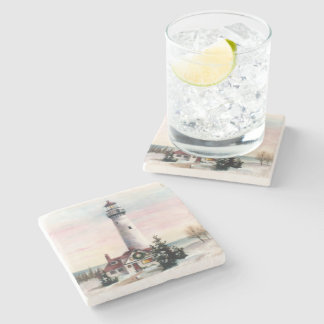 Christmas Lighthouse Stone Coaster