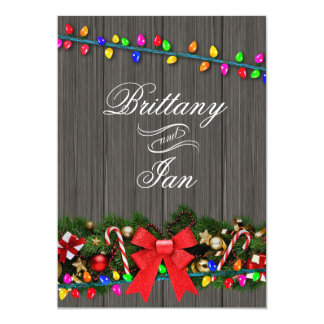 Christmas Lights Barn Wood Wedding | charcoal 13 Cm X 18 Cm Invitation Card