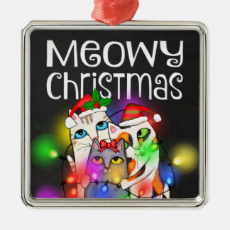 Christmas Lights Cats Chalkboard Square Ornament
