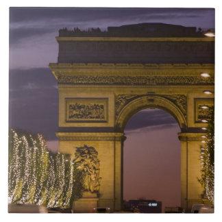 Christmas lights, Champs Elysees, Arc de Large Square Tile