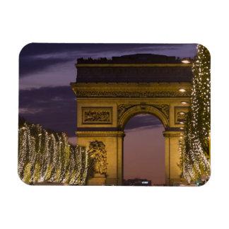 Christmas lights, Champs Elysees, Arc de Rectangular Photo Magnet