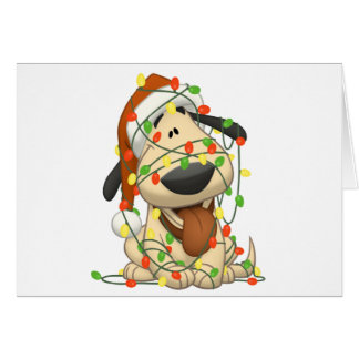 Christmas Lights Funny Puppy Dog Greeting Card