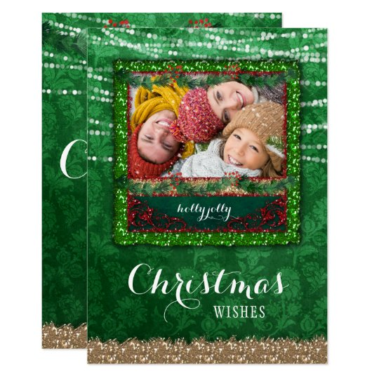 Christmas Lights Green Damask Photo Card