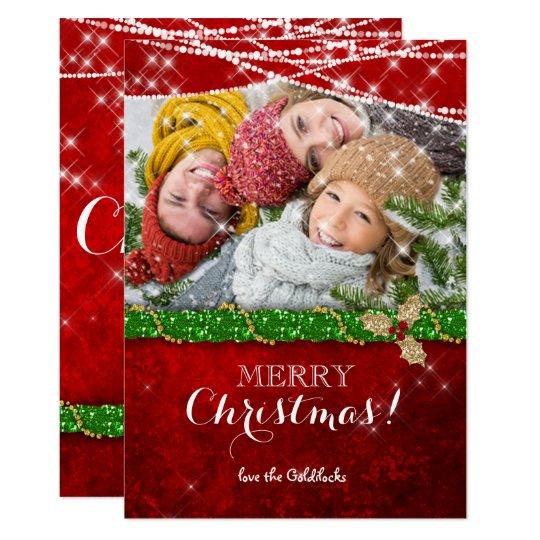 Christmas Lights Green Garland Holly Photo Card