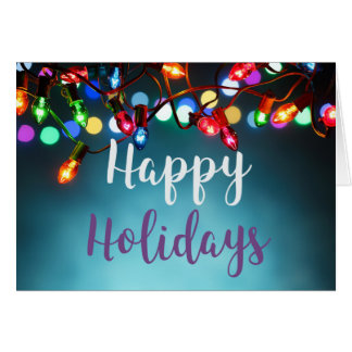 Christmas Lights Happy Holidays Greeting Card
