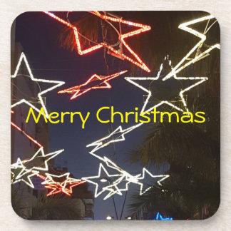 Christmas lights hard plastic coasters
