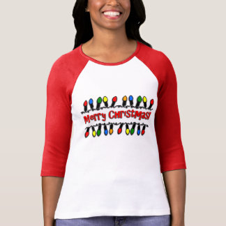Christmas Lights Ladies Raglan 3/4 Sleeve Tee