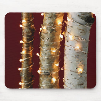 Christmas lights on birch trunks mouse pad