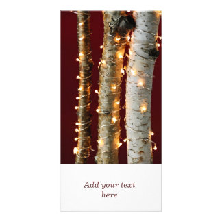 Christmas lights on birch trunks photo card template