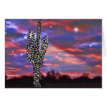 Christmas Lights on Desert Saguaro Cactus Greeting Card
