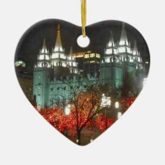 Christmas Lights On Temple Square Ceramic Heart Decoration