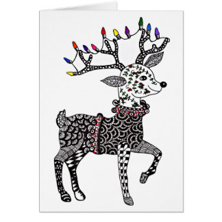 Christmas Lights Reindeer Card