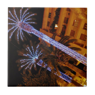 Christmas lights Sicily. Small Square Tile