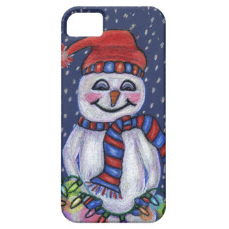 Christmas Lights Smiling Snowman iPhone 5 Cases