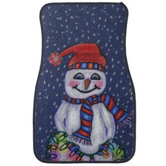 Christmas Lights Smiling Snowman Snowflakes Car Mat