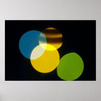 Christmas Lights Yellow Green Blue Print