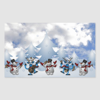 Christmas Line Dance Rectangular Sticker