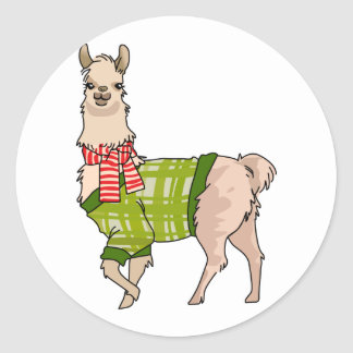 Christmas Llama Small Classic Round Sticker