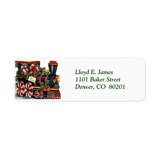 Christmas Locomotive Return Address Label