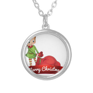 Christmas logo with elf round pendant necklace