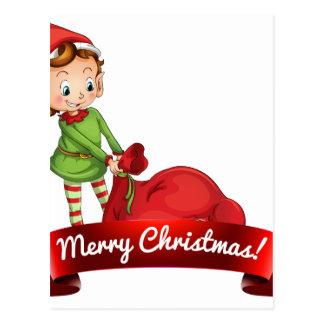 Christmas logo with elf postcard