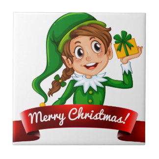 Christmas logo with female elf small square tile