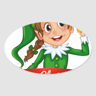 Christmas logo with female elf oval sticker