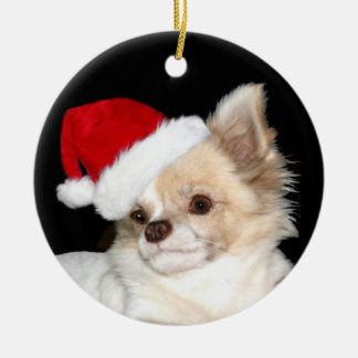 Christmas long haired Chihuahua Double-Sided Ceramic Round Christmas Ornament