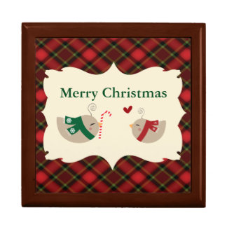 Christmas Love Birds Large Square Gift Box