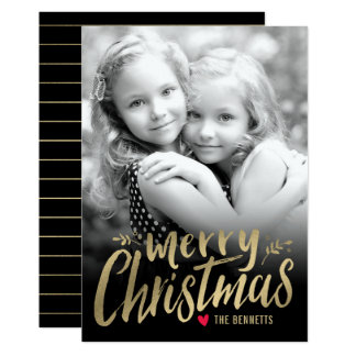Christmas Love Holiday Photo Card Gold