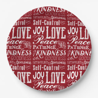 Christmas Love Joy Fruit of the Spirit Typography Paper Plate