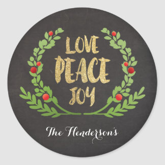 CHRISTMAS LOVE PEACE JOY WREATH STICKERS