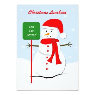 "Christmas Luncheon Invitation -- Snowman 5"" X 7"" Invitation Card"