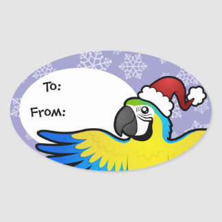 Christmas Macaw / Parrot Oval Sticker
