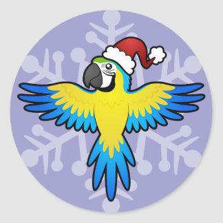 Christmas Macaw / Parrot Round Sticker