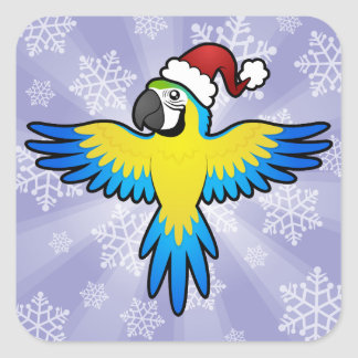 Christmas Macaw / Parrot Square Sticker