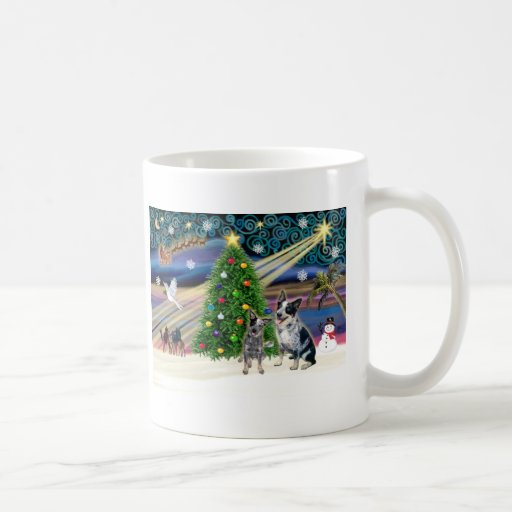 Christmas Magic Australian Cattle Dogs (two) Mugs