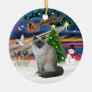 Christmas Magic - Birman cat Christmas Ornament