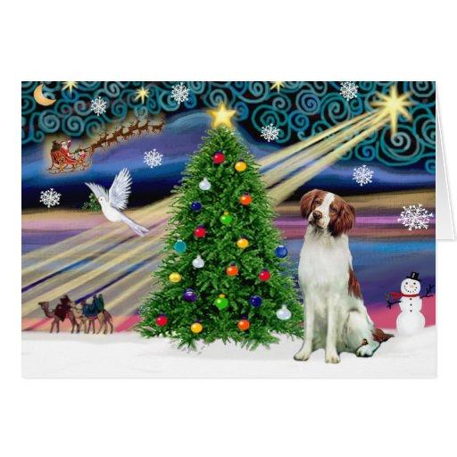 Christmas Magic Brittany Spaniel Greeting Cards