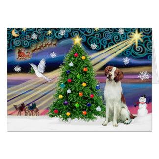 Christmas Magic Brittany Spaniel Greeting Card