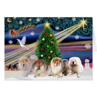 Christmas Magic Chow Chows (four) Greeting Card