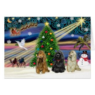 Christmas Magic Cocker Spaniels (three) Greeting Card