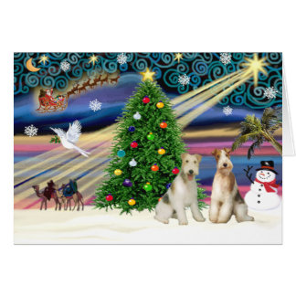 Christmas Magic Fox Terrier (Wire-two) Greeting Card