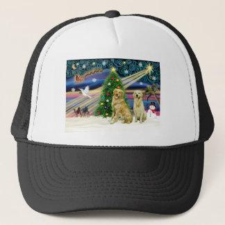 Christmas Magic Golden Retrievers (two) Trucker Hat