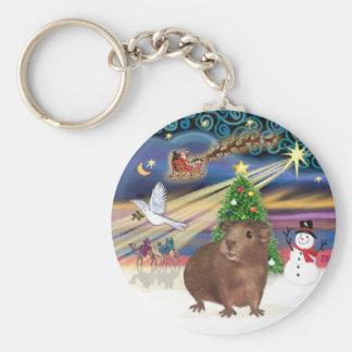 Christmas Magic - Guinea Pig #3 Basic Round Button Key Ring